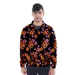 Little Peach And Pink Flowers Wind Breaker (men) by timelessartoncanvas