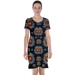 Seeds Decorative With Flowers Elegante Short Sleeve Nightdress