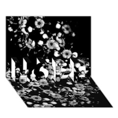 Little Black And White Flowers Hope 3d Greeting Card (7x5)  by timelessartoncanvas