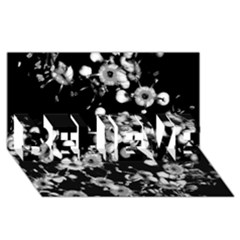 Little Black And White Flowers Believe 3d Greeting Card (8x4)  by timelessartoncanvas