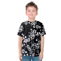 Little Black And White Flowers Kid s Cotton Tee by timelessartoncanvas