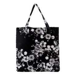 Little Black And White Flowers Grocery Tote Bag by timelessartoncanvas