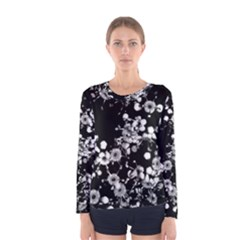 Little Black And White Flowers Women s Long Sleeve Tee by timelessartoncanvas