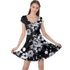 Little Black And White Flowers Cap Sleeve Dresses by timelessartoncanvas