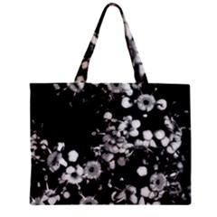 Little Black And White Flowers Zipper Mini Tote Bag by timelessartoncanvas
