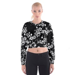 Little Black And White Flowers Women s Cropped Sweatshirt by timelessartoncanvas