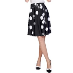 Little Black And White Dots A-line Skirt by timelessartoncanvas
