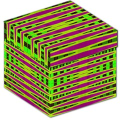 Bright Green Pink Geometric Storage Stool 12