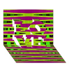 Bright Green Pink Geometric Love 3d Greeting Card (7x5)  by BrightVibesDesign