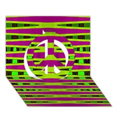 Bright Green Pink Geometric Peace Sign 3d Greeting Card (7x5)  by BrightVibesDesign
