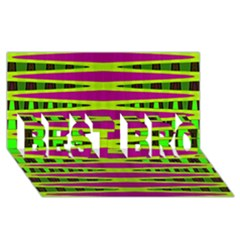Bright Green Pink Geometric Best Bro 3d Greeting Card (8x4)  by BrightVibesDesign
