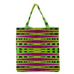 Bright Green Pink Geometric Grocery Tote Bag by BrightVibesDesign