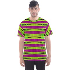 Bright Green Pink Geometric Men s Sport Mesh Tee