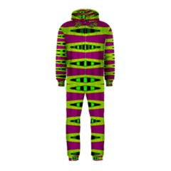 Bright Green Pink Geometric Hooded Jumpsuit (kids)