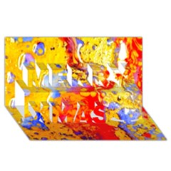 Gold And Red Merry Xmas 3d Greeting Card (8x4)