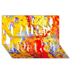 Gold And Red Laugh Live Love 3d Greeting Card (8x4)
