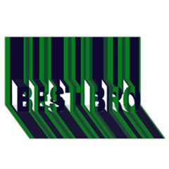 Dark Blue Green Striped Pattern Best Bro 3d Greeting Card (8x4)  by BrightVibesDesign
