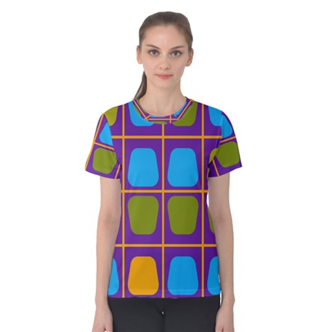 Shapes In Squares Pattern Women s Cotton Tee by LalyLauraFLM