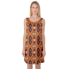 Brown Leaves Pattern Sleeveless Satin Nightdress