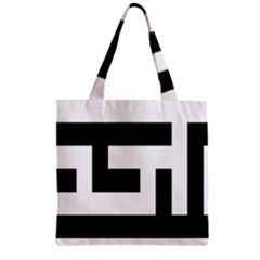Black And White Zipper Grocery Tote Bag by timelessartoncanvas