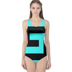 Black And Teal One Piece Swimsuit