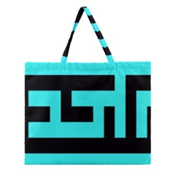 Black And Teal Zipper Large Tote Bag by timelessartoncanvas