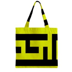 Black And Yellow Zipper Grocery Tote Bag