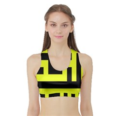Black And Yellow Women s Sports Bra With Border
