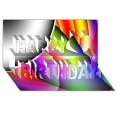 Psychedelic Design Happy Birthday 3d Greeting Card (8x4)  by timelessartoncanvas