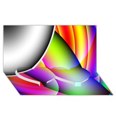 Psychedelic Design Twin Heart Bottom 3d Greeting Card (8x4)  by timelessartoncanvas