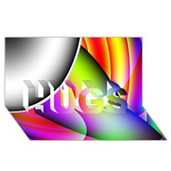 Psychedelic Design Hugs 3d Greeting Card (8x4)  by timelessartoncanvas