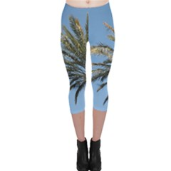 Tropical Palm Tree  Capri Leggings  by BrightVibesDesign