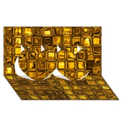 Glossy Tiles, Golden Twin Hearts 3d Greeting Card (8x4)  by MoreColorsinLife