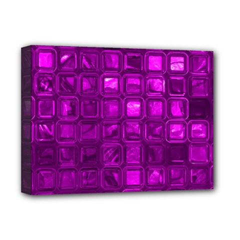Glossy Tiles,purple Deluxe Canvas 16  X 12   by MoreColorsinLife