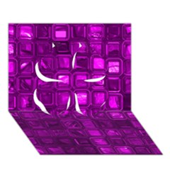 Glossy Tiles,purple Clover 3d Greeting Card (7x5)  by MoreColorsinLife