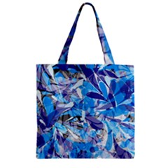 Abstract Floral Zipper Grocery Tote Bag