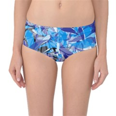 Abstract Floral Mid Waist Bikini Bottoms by Uniqued