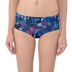Abstract Floral #3 Mid Waist Bikini Bottoms by Uniqued