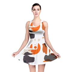 Shapes In Retro Colors On A White Background Reversible Skater Dress