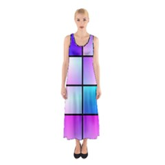 Gradient Squares Pattern  Full Print Maxi Dress by LalyLauraFLM