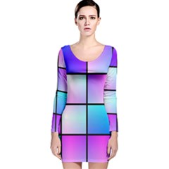 Gradient Squares Pattern  Long Sleeve Velvet Bodycon Dress