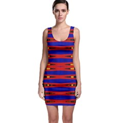 Bright Blue Red Yellow Mod Abstract Sleeveless Bodycon Dress
