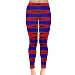 Bright Blue Red Yellow Mod Abstract Leggings