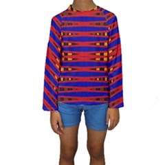 Bright Blue Red Yellow Mod Abstract Kid s Long Sleeve Swimwear