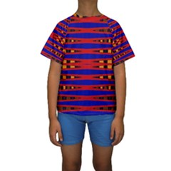 Bright Blue Red Yellow Mod Abstract Kid s Short Sleeve Swimwear