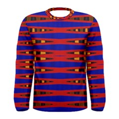 Bright Blue Red Yellow Mod Abstract Men s Long Sleeve Tee