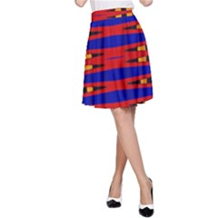 Bright Blue Red Yellow Mod Abstract A Line Skirt