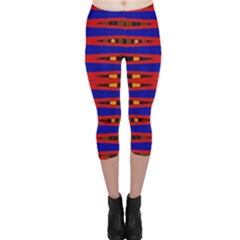 Bright Blue Red Yellow Mod Abstract Capri Leggings
