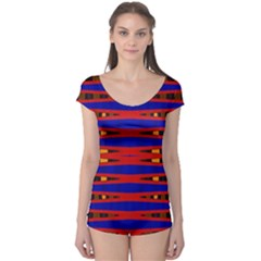 Bright Blue Red Yellow Mod Abstract Boyleg Leotard (ladies)