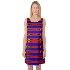 Bright Blue Red Yellow Mod Abstract Sleeveless Satin Nightdress